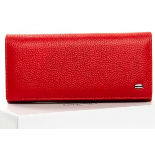 Красный кожаный кошелек на молниях с логотипом бренда