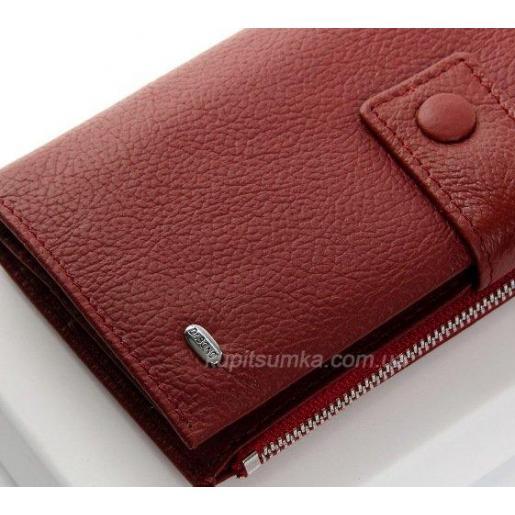 Женский кожаный кошелек 116P Красный темный