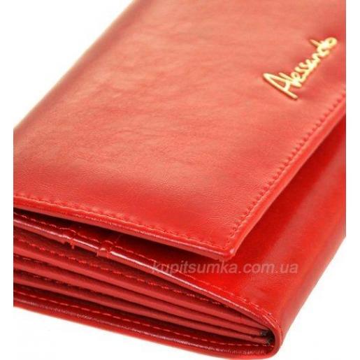 Женский кошелек из глянцевой красной кожи с монетницей на молнии