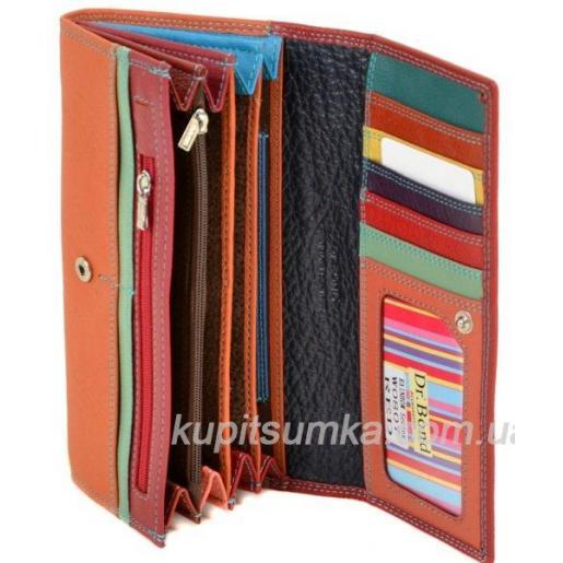 Красный кошелёк из натуральной кожи на замочках