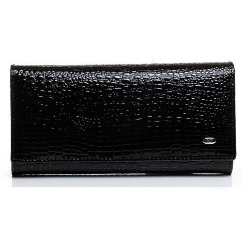Женский кошелек из  лаковой кожи черный OP501-2K-49