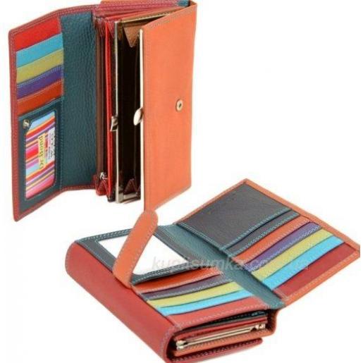 Кожаный кошелёк с двойной монетницей Красный