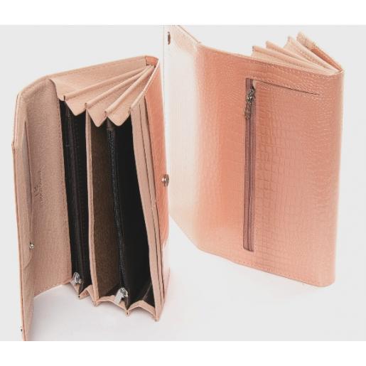 Женский кошелек из лаковой кожи розовый OP501-2K-56