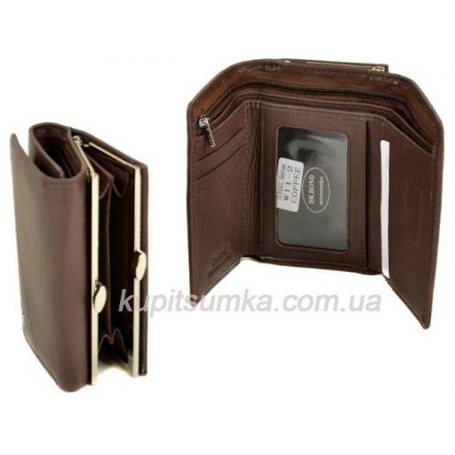 Женский коричневый кошелёк из натуральной кожи с наружной монетницей на защелке