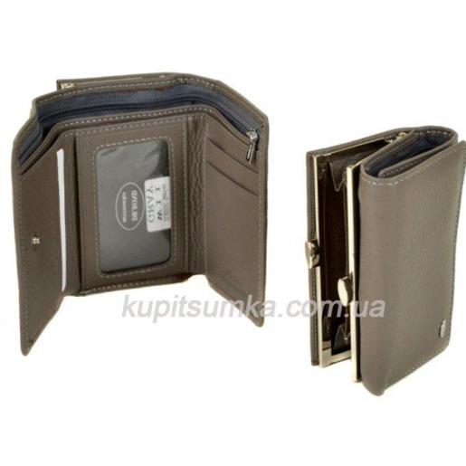 Женский серый кошелёк из натуральной кожи с наружной монетницей на защелке
