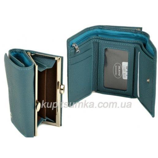 Женский голубой кошелёк из натуральной кожи с наружной монетницей на защелке