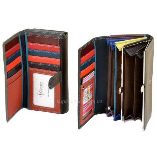 Кожаный кошелёк с двойной монетницей кофейного цвета