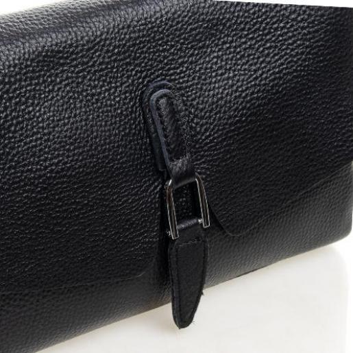 Кожаная женская сумка кросс - боди 8778P Черный