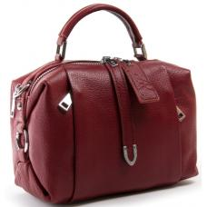 Кожаная женская сумка два отделения 8762-9P Бордовый