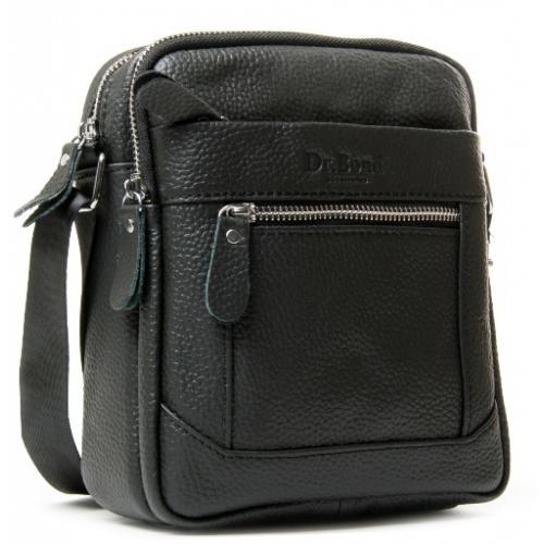 Мужская кожаная сумка через плечо черная 22PO-3