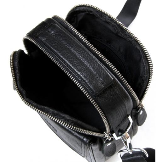 Мужская кожаная сумка-мессенджер черная 208PO-11