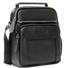 Мужская кожаная сумка через плечо черная 14PO-36