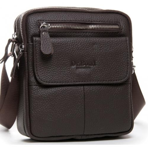 Мужская кожаная сумка мессенджер коричневая 11PO-08