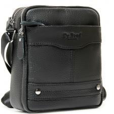 Мужская кожаная сумка мессенджер на плечо черная 12PO-02