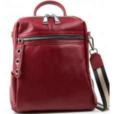 Женский кожаный рюкзак 7687P-4 бордовый