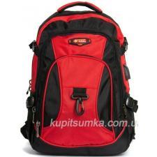 Городской рюкзак с двумя отделениями красно-чёрный