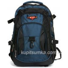 Городской рюкзак с двумя отделениями цвет сине-чёрный