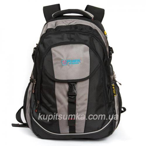 Городской рюкзак с двумя отделениями чёрно-серый