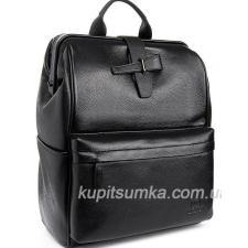Деловой кожаный рюкзак с логотипом бренда Чёрный