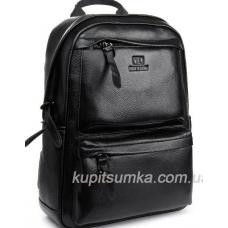 Мужской большой кожаный рюкзак Чёрный