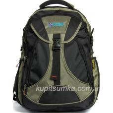 Мужской рюкзак с двумя отделениями чёрно-зелёный