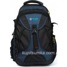 Мужской рюкзак с двумя отделениями чёрно-синий
