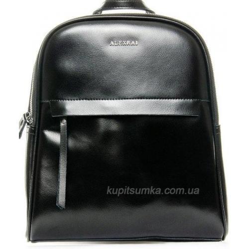 Недорогой рюкзак черного цвета из натуральной кожи