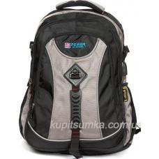 Стильный рюкзак с двумя отделениями чёрно-серый