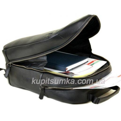 Мужской рюкзак кожаный черный 80П03-73
