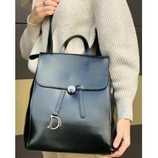 Большой женский рюкзак из натуральной кожи Чёрный