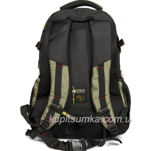 Стильный рюкзак с двумя отделениями чёрно-зелёный