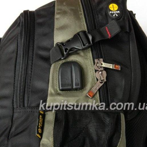 Городской рюкзак с двумя отделениями чёрно-зелёный