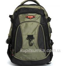Городской рюкзак с двумя отделениями цвет чёрно-зелёный