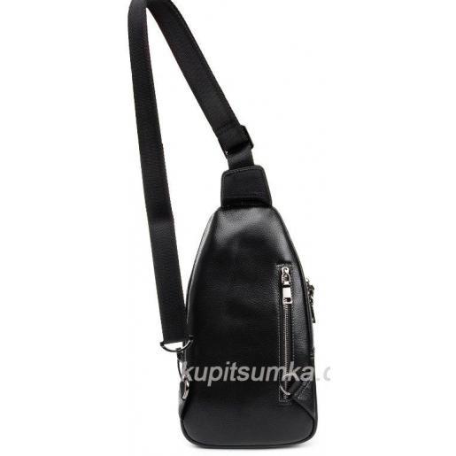 Городской мужской рюкзак из натуральной кожи Чёрный