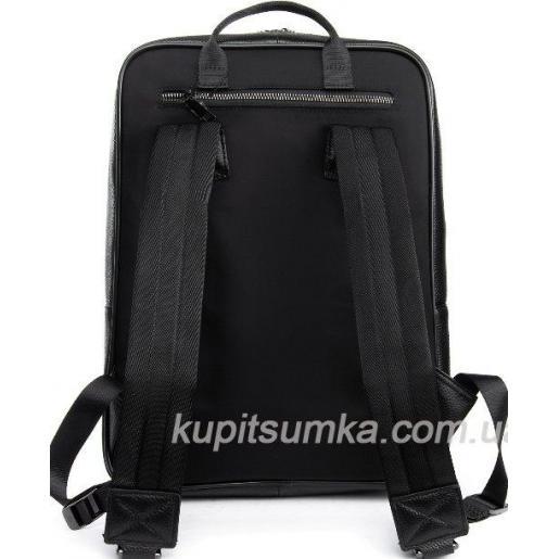 Большой мужской кожаный рюкзак с логотипом бренда Чёрный