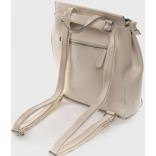 Модный женский рюкзак бежевого цвета из натуральной кожи