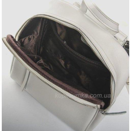 Практичный недорогой рюкзак белого цвета из натуральной кожи