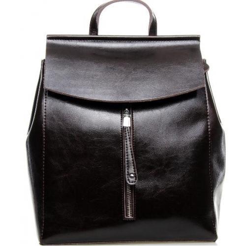 Кожаный городской рюкзак 0632P Кофейный