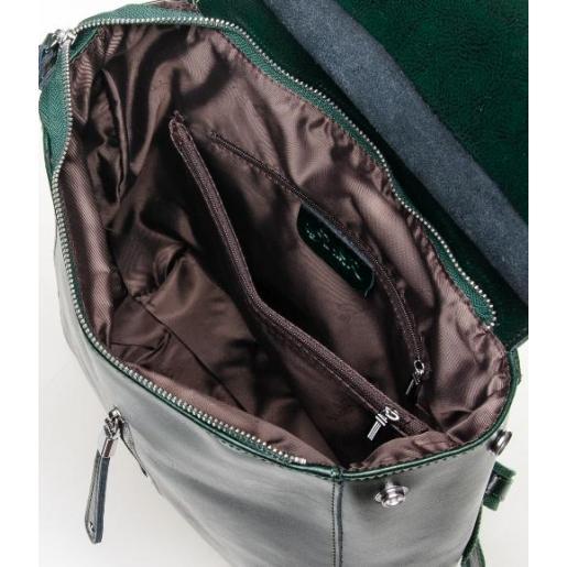 Рюкзак зеленый кожаный 0632P