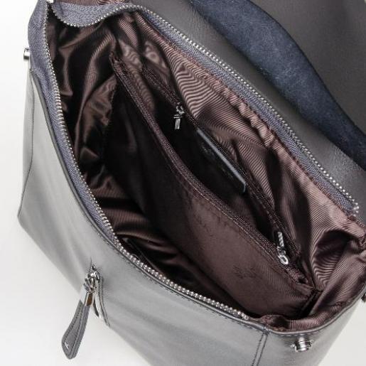 Городской кожаный рюкзак 0632P Серый