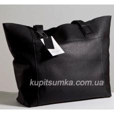 Вместительная женская сумка шоппер из натуральной кожи черного цвета