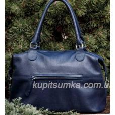 Вместительная сумка из натуральной кожи передним карманом Синий