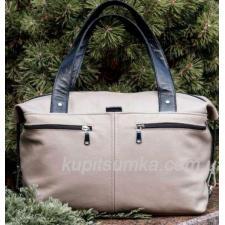 Женская сумка из натуральной кожи Светлый беж