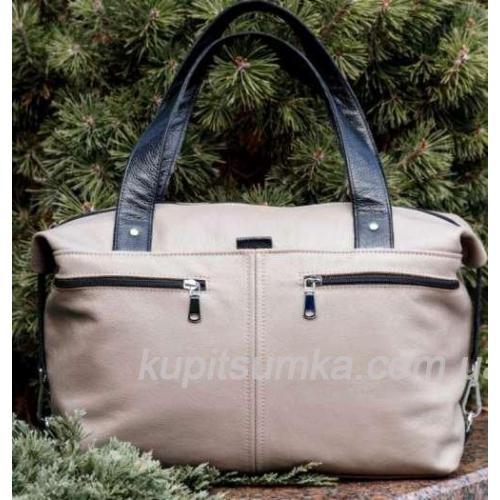 Женская вместительная сумка из натуральной кожи Светлый беж