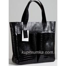 Женская кожаная сумка шоппер с тиснением, чёрного цвета