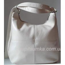 Женская сумка на плечо в бежевом цвете из натуральной мягкой кожи