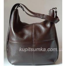 Женская сумка из мягкой натуральной коричневой кожи на регулируемом ремне