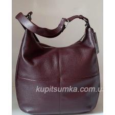 Женская сумка из мягкой натуральной кожи на регулируемом ремне Марсала