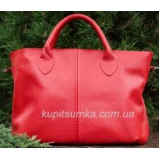Женская сумка из натуральной мягкой кожи красного цвета