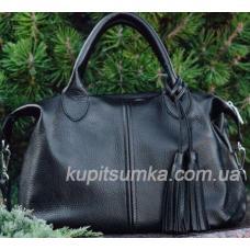 Женская сумка из черной натуральной мягкой кожи